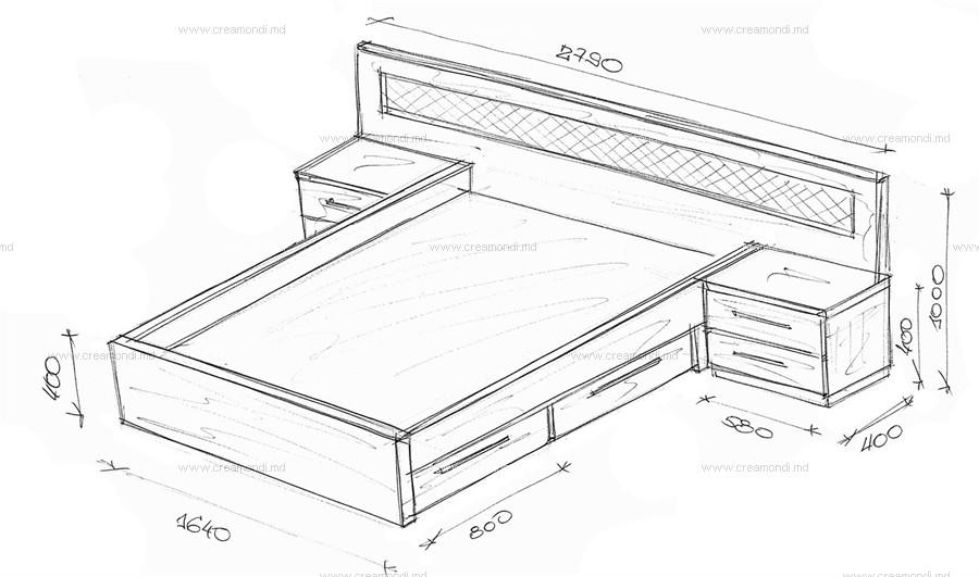 Кровати двуспальные чертежи