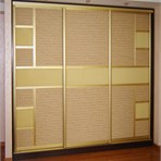 Sliding door wardrobes Bedroom: bamboo and glass
